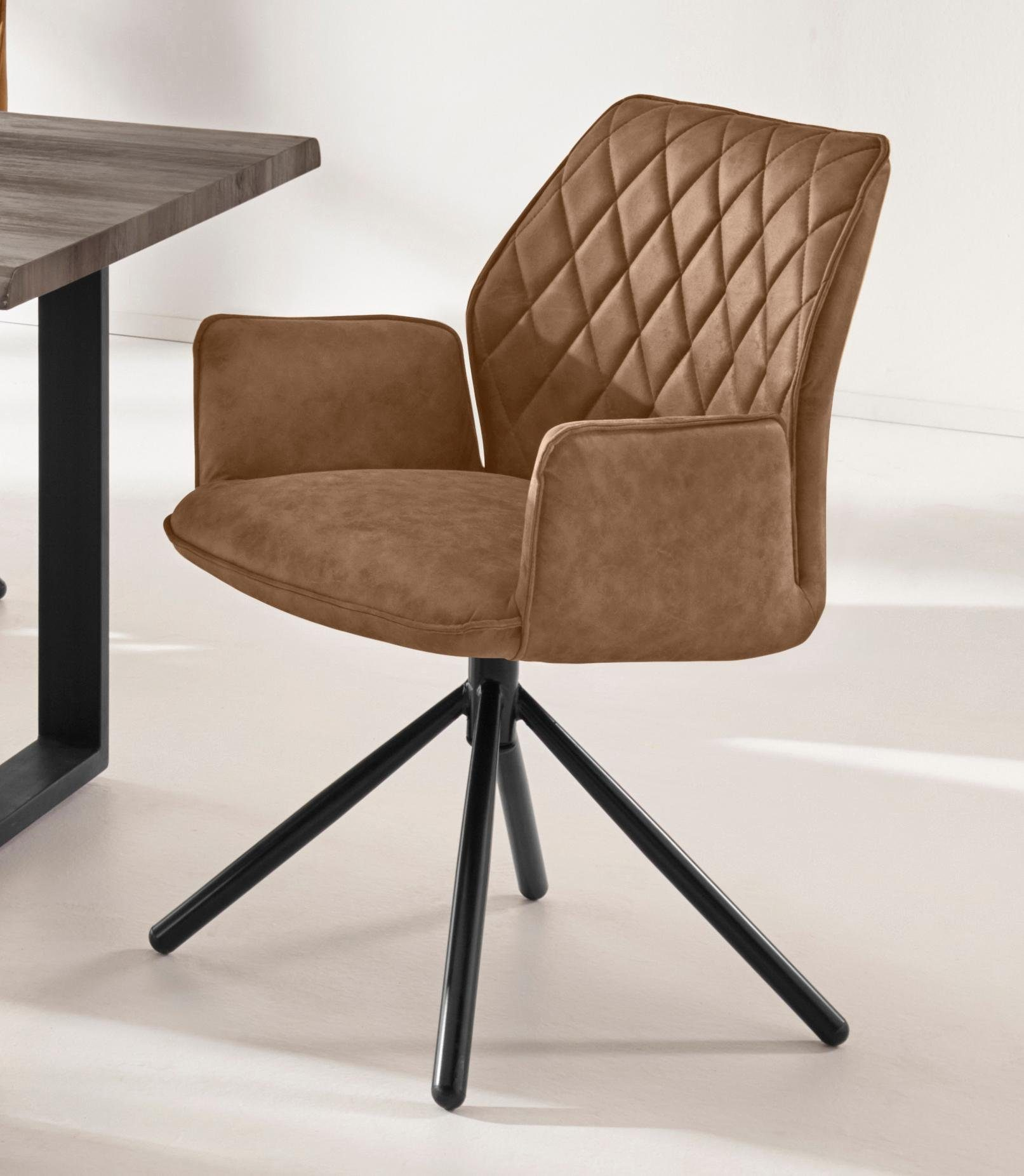 INOSIGN Esszimmerstuhl »Preston« 2er Set, mit weichem Luxus Microfaser Bezug in Lederoptik, mit schwarzen pulverbeschichteten Metallbeinen, Sitzhöhe