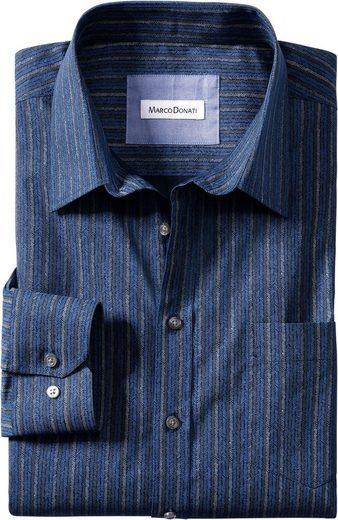Marco Donati Langarm-Hemd mit modischen Streifen
