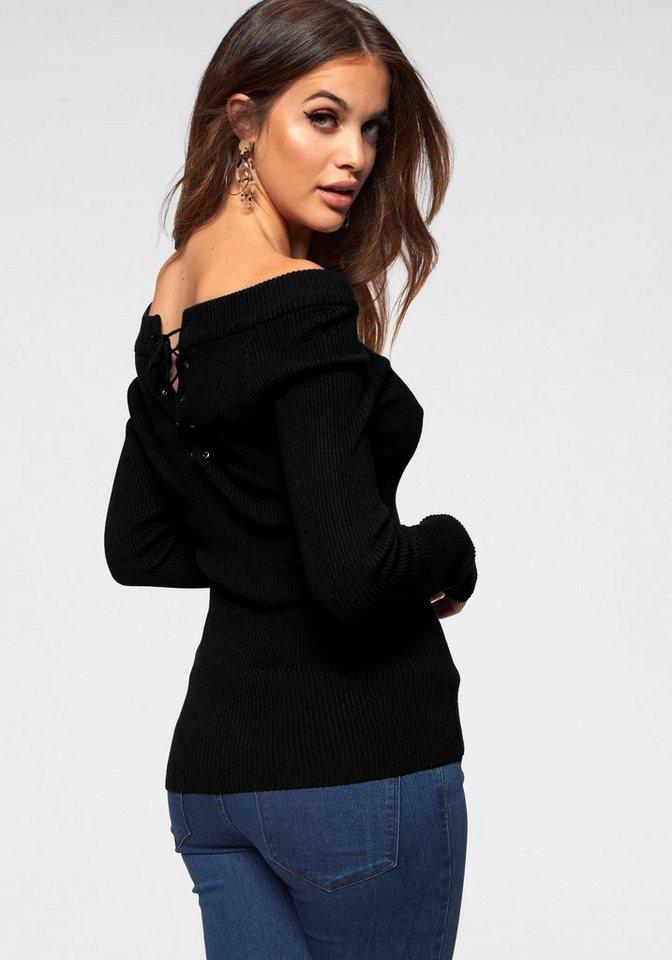 Damen Melrose Carmenpullover mit kleiner Zierschnürung schwarz | 08808747318806
