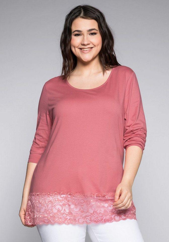Abstand wählen Neue Produkte zum halben Preis Sheego Longshirt mit Spitze, Mit langen Ärmeln online kaufen | OTTO