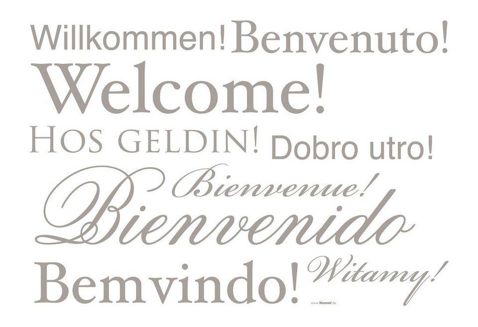 "Wandsticker, Komar, ""Welcome"", 11-teilig in natur"