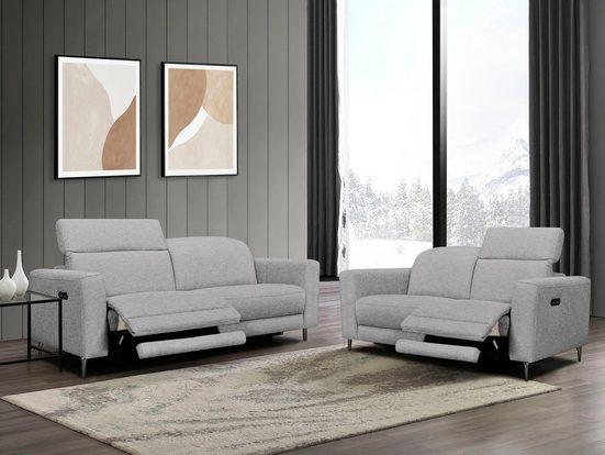Places of Style Polstergarnitur »Indiana«, (Set, Set bestehend aus einem 2-Sitzer und einem 3-Sitzer), Inkl. Manueller Kopfstützenverstellung, elektrischer Relaxfunktion und USB-Anschluß