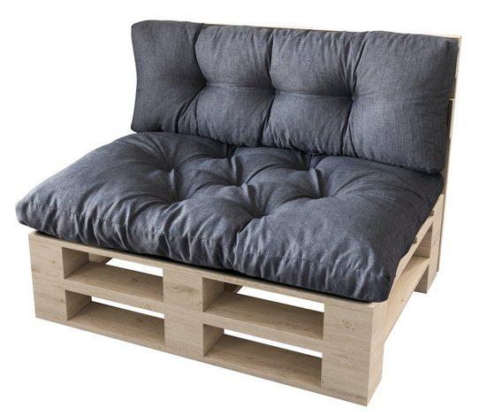 sunnypillow Palettenkissen »Malmo - Set Sitzkissen 120x80x12 + Rückenkissen 120x40x15«, palettenmöbel palettencouch polsterauflage