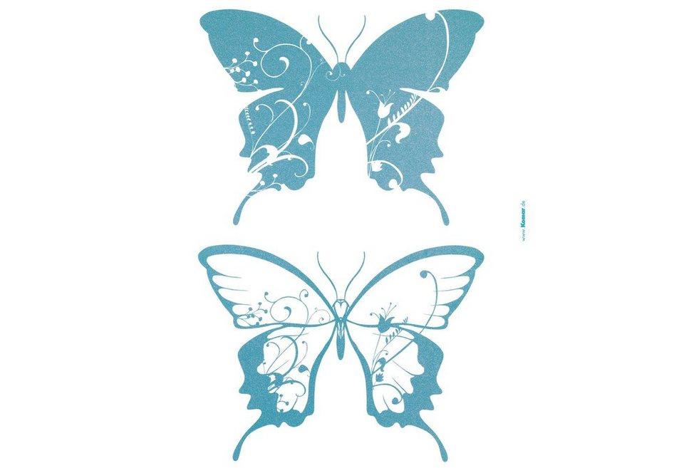 """Wandsticker, Komar, """"Schmetterlinge"""" in blau"""