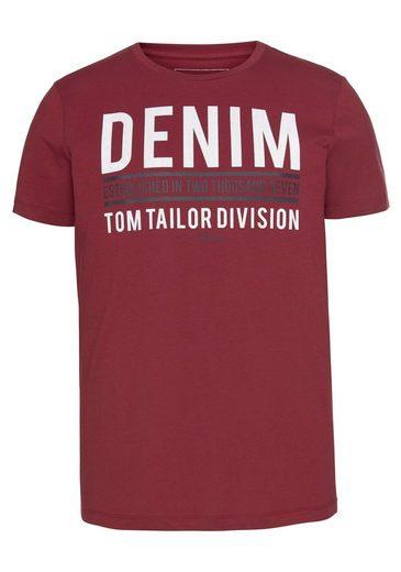 TOM TAILOR Denim Rundhalsshirt mit Markenprint