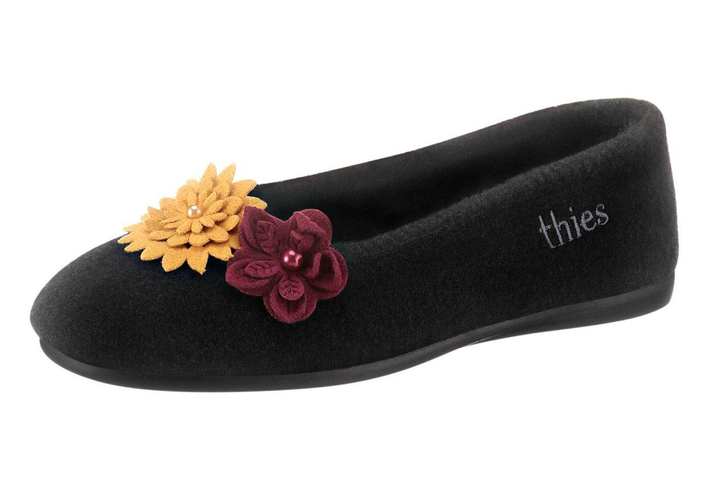Thies Hausschuh mit zweifarbiger Blüten-Applikation | Schuhe > Hausschuhe > Klassische Hausschuhe | Schwarz | thies