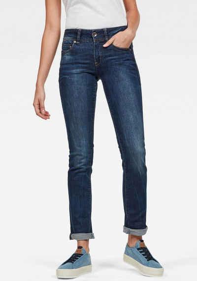G Star RAW Slim fit Jeans »Midge Mid Straight Wmn« mit Used Effekten