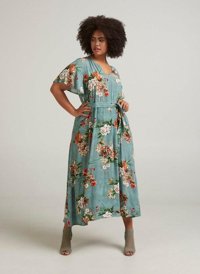 0d3f47b70361d8 Zizzi Maxikleid Damen Große Größen Kleid Blumenmuster Weit Kurzarm  Sommerkleid