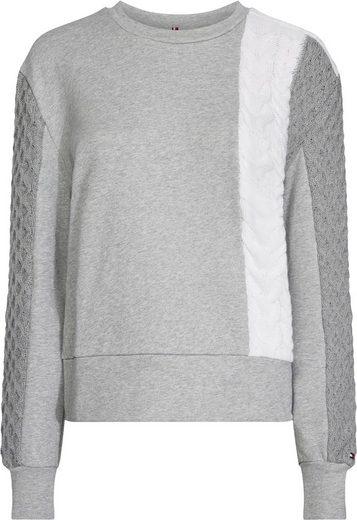 TOMMY HILFIGER Sweatshirt mit Strickeinsätzen mit Zopfmuster