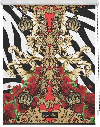 Seitenzugrollo »Verdunkelungsrollo Klemmfix«, POMPÖÖS by Lichtblick, verdunkelnd, ohne Bohren, freihängend, bedruckt