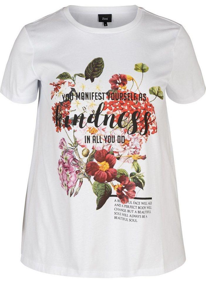 da8b899d6d39b4 Zizzi T-Shirt Damen Große Größen T-Shirt Kurzarm Rundhals Casual Print  Oberteil