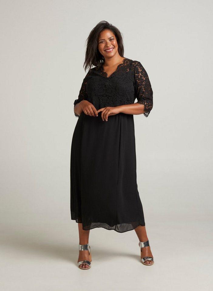 Zizzi Abendkleid Damen Große Größen Spitzenkleid 3/4 Arm ...