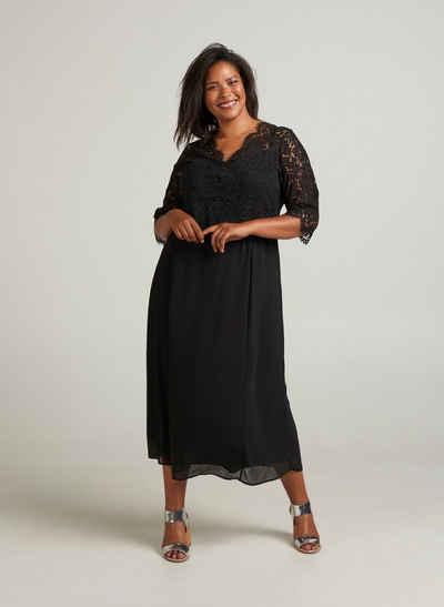7767dd3a658ef1 Zizzi Abendkleid Damen Große Größen Spitzenkleid 3/4 Arm Spitze Elegant  Kleid