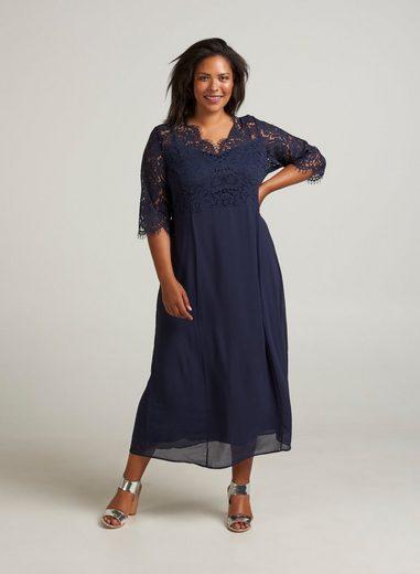 Zizzi Abendkleid Damen Große Größen Spitzenkleid 3/4 Arm Spitze Elegant Kleid