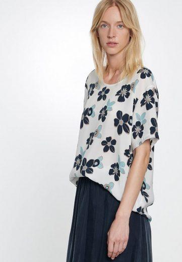 seidensticker Shirtbluse »Schwarze Rose« Kurzarm Rundhals Floraler Print