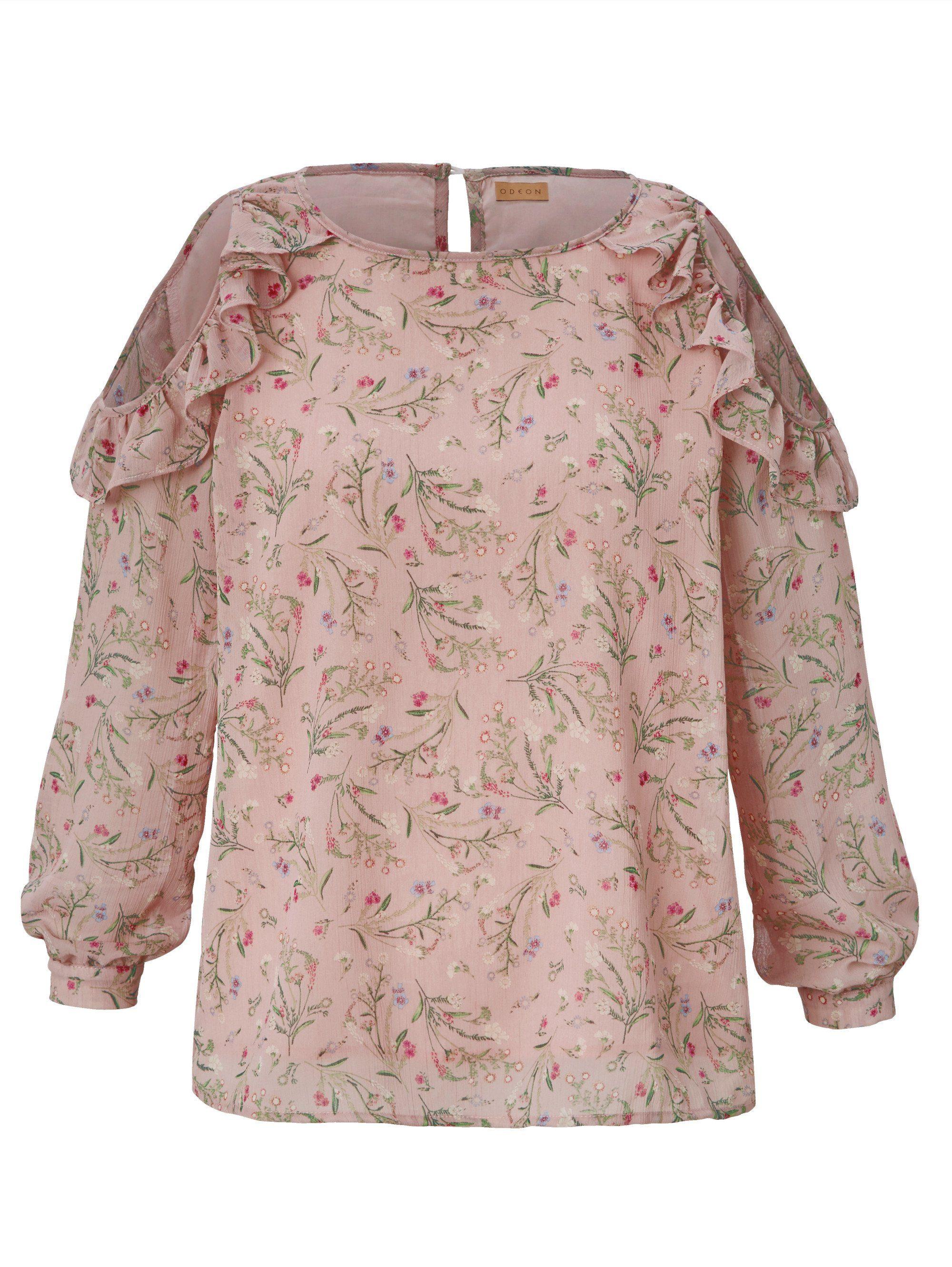Sheego Crash Damen Oberteil Gr.46,48,50,52,58 Tunika Bluse Rüschen SHIRT pink