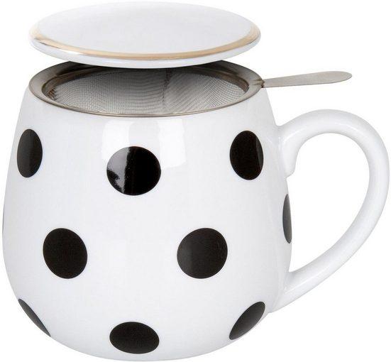 Könitz Tasse »Black and White - Dots« (2-tlg), Porzellan, mit Sieb und Deckel