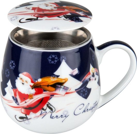 Könitz Tasse »Merry Christmas - Weihnachtsmann« (2-tlg), Porzellan, mit Sieb und Deckel