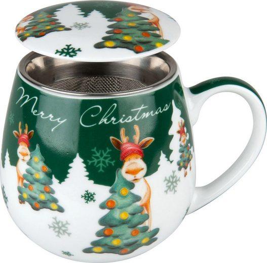 Könitz Tasse »Merry Christmas - Weihnachtselch« (2-tlg), Porzellan, mit Sieb und Deckel