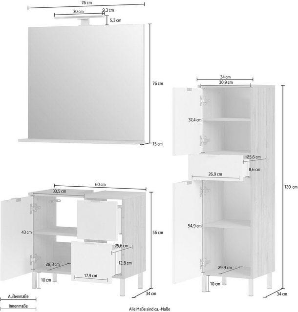 Badezimmer Sets - GERMANIA Badmöbel Set »GW Mauresa«, (Set, 3 tlg)  - Onlineshop OTTO