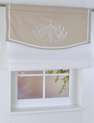 Raffrollo »Versailles«, Kutti, mit Stangendurchzug, freihängend, mit Stangendurchzug