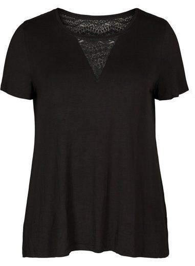 Zizzi T-Shirt Damen Große Größen T-Shirt Spitze Kurzarm Casual Oberteil