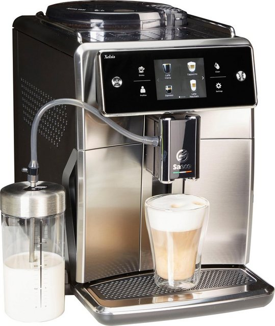 Saeco Kaffeevollautomat SM7683 10 Xelsis, 15 Kaffeespezialitäten wählbar, edelstahl schwarz