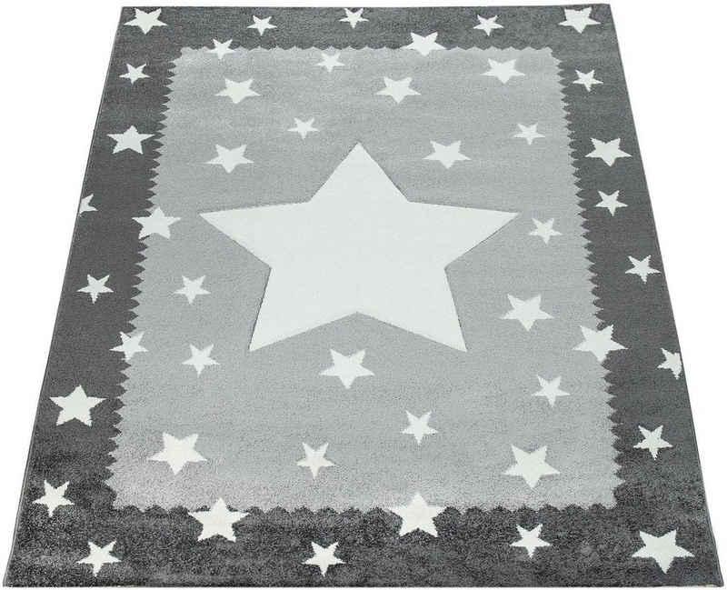 Kinderteppich »Ela 398«, Paco Home, rechteckig, Höhe 17 mm, Stern Motiv, Konturenschnitt, mit Bordüre, Kinderzimmer