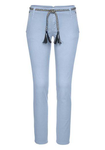 Please Jeans Chinohose »P0AY« inklusive Kordelgürtel mit Lederimitatfransen