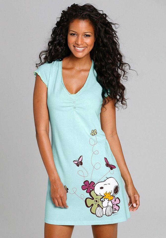 PEANUTS Sleepshirt mit Snoopyprint & Zierknöpfen in hellgrün