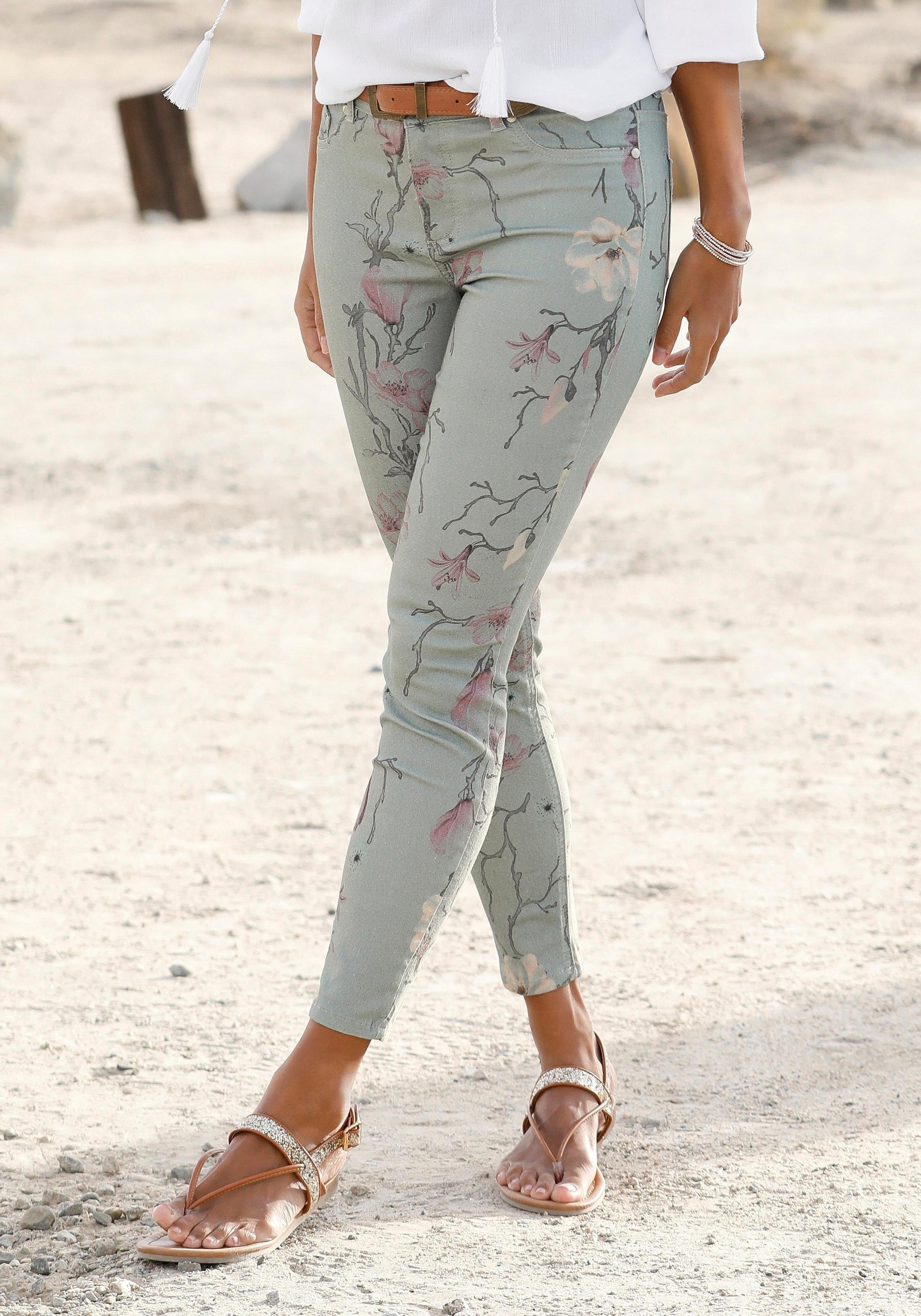 7 8 hose damen blumenprint mac