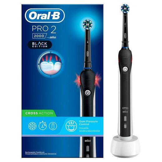 Oral B Elektrische Zahnbürste PRO 2 2000 Black Edition, Aufsteckbürsten: 1 St., Cross Action