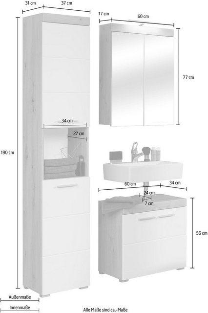 Badezimmer Sets - trendteam Badmöbel Set »Amanda«, (Set, 3 St), mit Spiegelschrank, Hochschrank und Waschbeckenunterschrank, Zwischenböden hinter den Türen, MDF Fronten in Hochglanz oder Holzoptik  - Onlineshop OTTO
