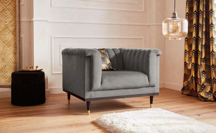 Guido Maria Kretschmer Home&Living Sessel »Chamby« mit Holzrahmen unten und Steppung im Lehnenbereich