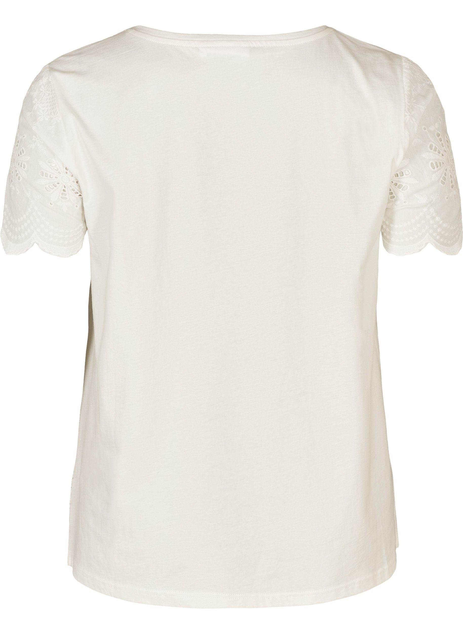 Zizzi Kurzarmbluse Damen Große Größen Bluse Kurzarm Casual Lochmuster T-Shirt