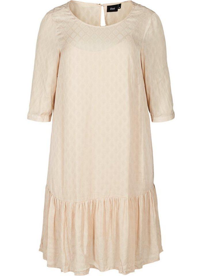 Festtagsmode - Zizzi Abendkleid Große Größen Damen Kleid mit 3 4 Ärmeln und Rundhals ›  - Onlineshop OTTO