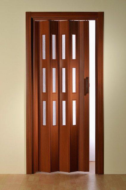 Kunststoff-Falttür mit Fenster Riffelstruktur, Höhe nach Maß, mahagonifarben, braun