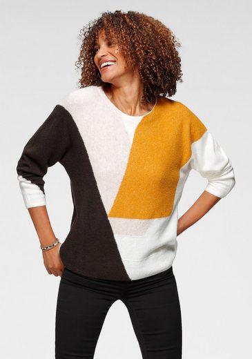 GERRY WEBER Rundhalspullover im modischem Colorblocking-Design