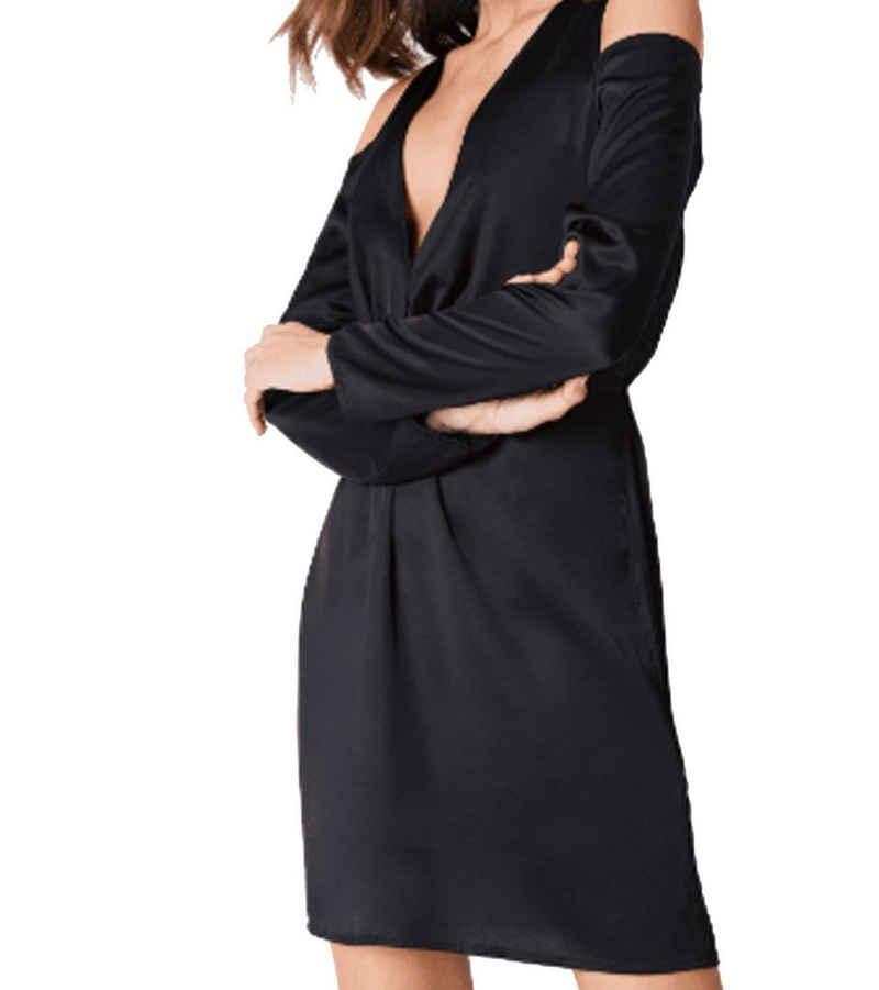 NA-KD Sommerkleid »NA-KD x Hanna Licious Cold Shoulder Abend-Kleid glänzendes Damen Kleid Party-Kleid Schwarz«