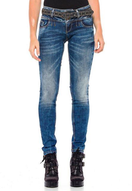 Hosen - Cipo Baxx Slim fit Jeans mit coolem Doppel Bund in Skinny Fit ›  - Onlineshop OTTO
