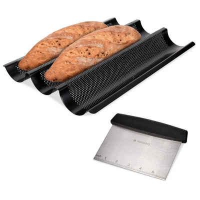 Navaris Backform, Form mit Edelstahl Teigschaber - Form für Baguette Brot Ofenform Backblech Set - 1x Brotbackform aus Stahl mit 1x Teig Spachtel
