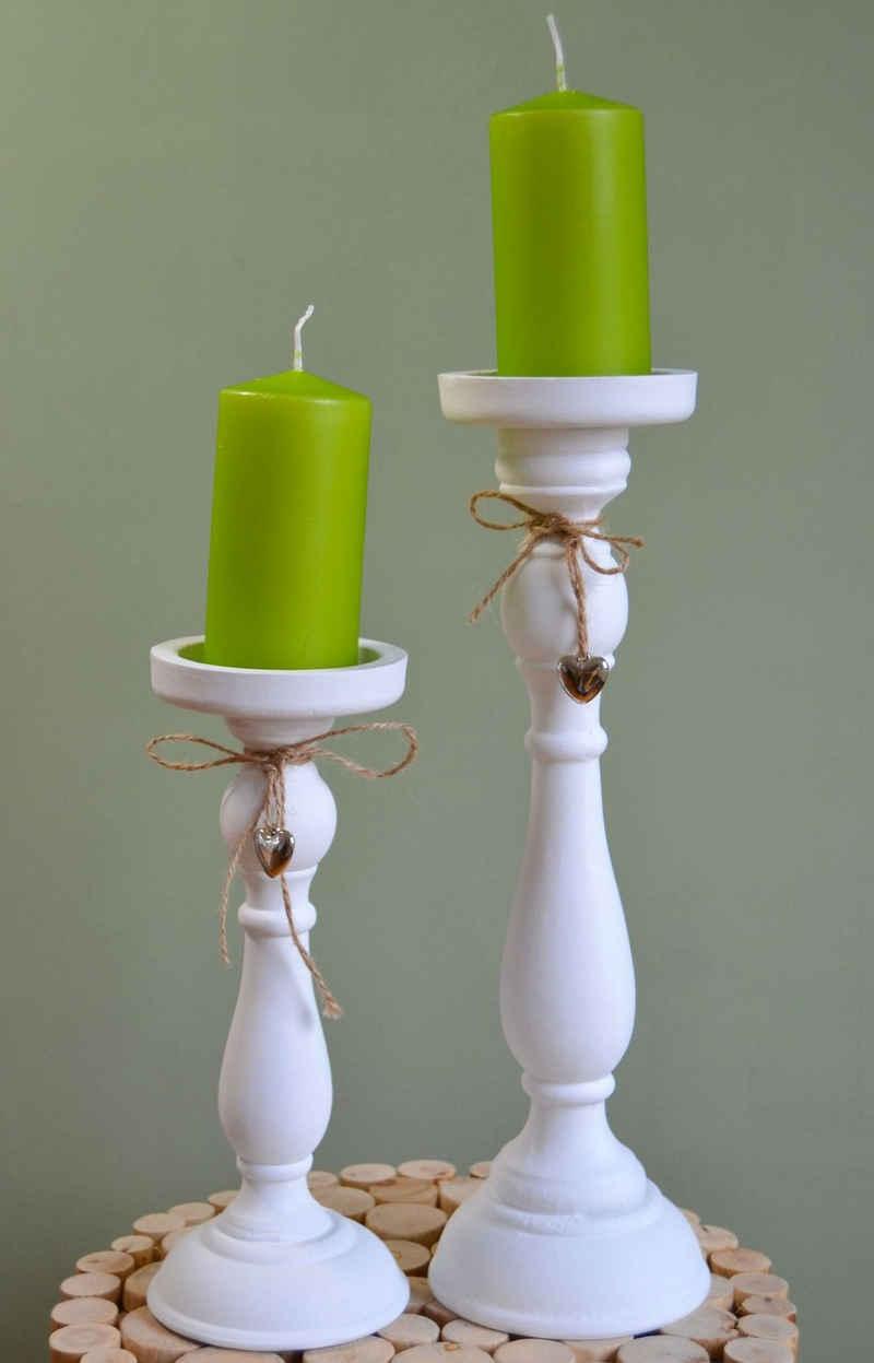 elbmöbel Kerzenständer »Kerzenständer SET 2 Tlg«, Kerzenständer SET weiß 12x37x12 und 11x27x11 cm Stumpenkerzenhalter