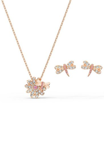 Swarovski Schmuckset »Eternal Flower Dragonfly, rosa, Rosé vergoldet, 5518141« (Set, 3-tlg), mit Swarovski® Kristallen
