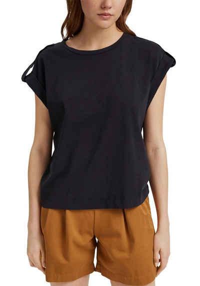 edc by Esprit T-Shirt mit Umschlagsaum und Schulterdetails