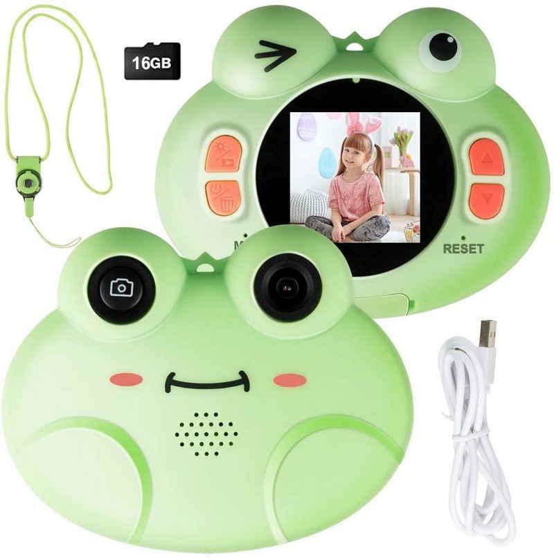 COSTWAY »Kinder Digitalkamera Videokamera« Kinderkamera (8MP/1080P HD, inkl. Trageband, 16GB-Speicherkarte, mit Cartoon-Schutzhülle)