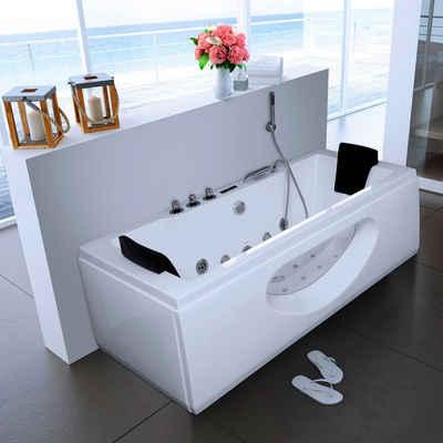 HOME DELUXE Whirlpool-Badewanne »White M«, (Komplett-Set, 5-tlg), B/T/H in cm: 180/90/55, mit Whirlpool-System