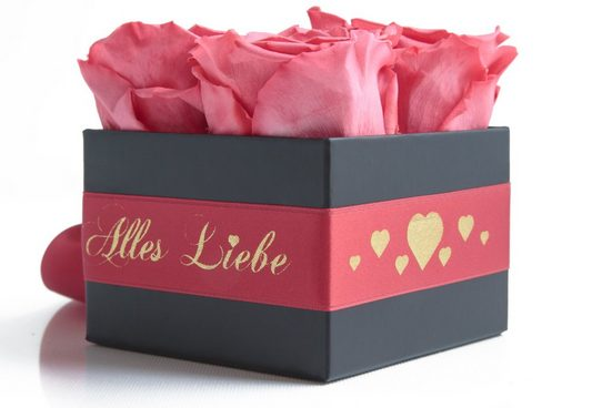 Kunstorchidee »Alles Liebe Rosenbox mit duftenden Infinity Rosen echte konservierte Blumen« Rose, ROSEMARIE SCHULZ Heidelberg, Höhe 8,5 cm, Muttertag