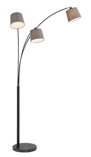 Home affaire Stehlampe »Tannegg«, Stehleuchte / Bogenlampe mit Marmor - Fuß, graue Stoffschirme Ø 14,5-18 cm