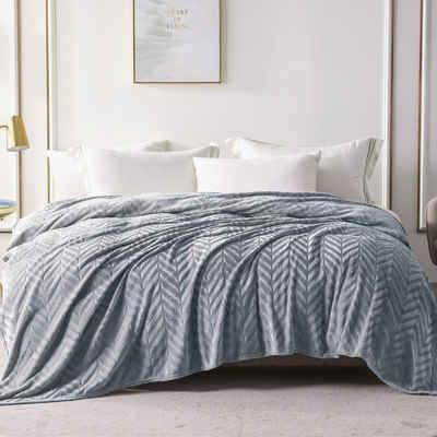 Wohndecke »Wohndecke Silber grau«, Yebeda, Premium Wohndecke, Mikrofaser Fleece-Decke, 220 x 240 cm, TV- Decken, Sofadecke, Flauschige, Gemütlich, Langlebig