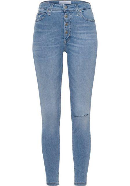 Hosen - Calvin Klein Jeans Skinny fit Jeans »HIGH RISE SUPER SKINNY ANKLE« mit Destroyed Elementen › blau  - Onlineshop OTTO